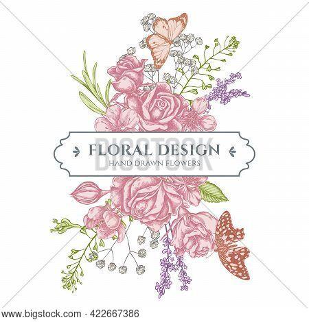 Floral Bouquet Design With Pastel Shepherd S Purse, Heather, Iris Japonica, Sakura, Gypsophila, Almo