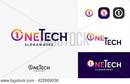 One Tech Logo, Pixel Technology Logo Designs Concept Vector, Network Internet Logo Symbol, Digital W
