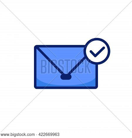 Email Mail Envelope Icon With Check Approved Sign Symbol Vector