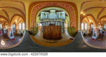 Ossava, Belarus - May 2021: Full Spherical Seamless Hdri Panorama 360 Degrees Inside Interior Of Neo