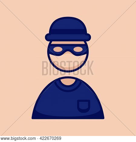 Thief Burglar People Icon Simple And Minimalist In Cartoon Outline Graphic Vector Illustration Style