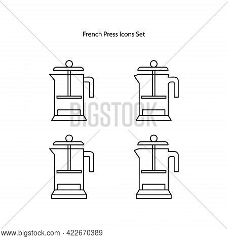 French Press Icons Set Isolated On White Background. French Press Icon Trendy And Modern French Pres