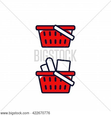 Grocery Red Shopping Basket Icon Empty And Full Filled Condition Symbol Icon In Outline Filled Style