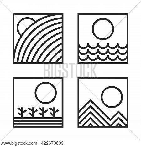 Nature Pictogram. Hill, Sea, Dessert, And Mountain Illustration In Monoline Geometric Style Icon Set