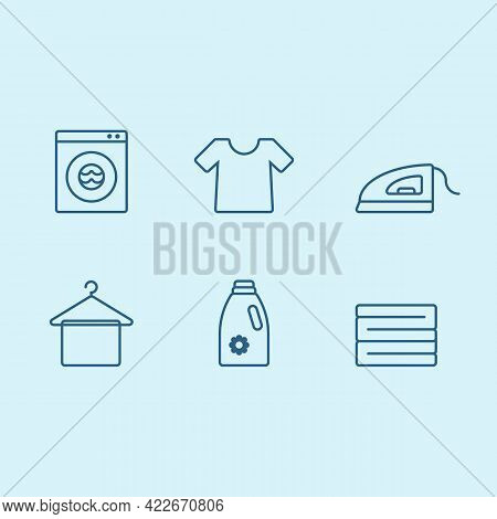 Laundry Icon Set With Iron, Tshirt, Detergent, Clothes Stack, Hanger And Wash Machine Outline Icon S
