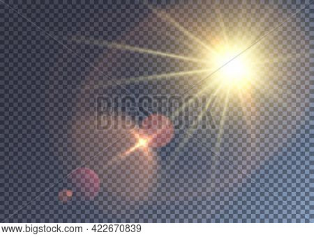 Summer Colorful Vector Sun With Lens Flare