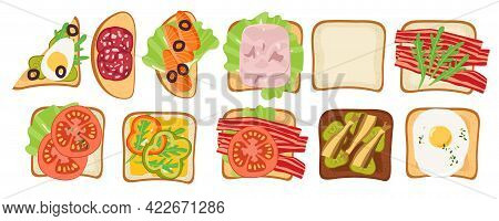 Collection Of Open Sandwiches. Snack. Overhead View Of Isolated Toasts Vector Flat. Toasts And Sandw