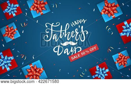 Happy Father's Day Greeting Card With Lettering Sale And Gift Boxes On Blue Background. The Concept