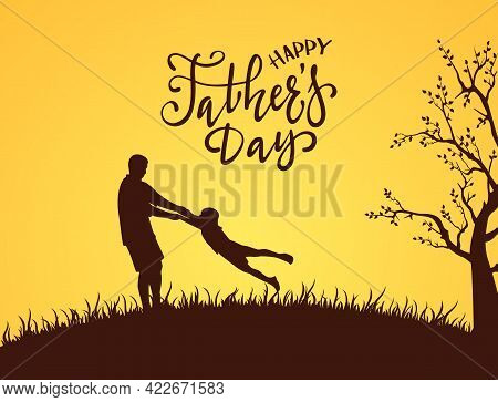 Silhouette Of Father And Son With Lettering Happy Fathers Day. The Concept Of Happy Family On Orange