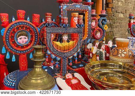Antiques On Flea Market - Wooden Candlesticks, Vintage Dishes, Ceramic Vases And Other Vintage Thing