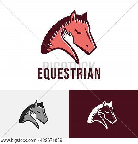 Equestrian Horseman Hand Horse Race Racehorse Stable Logo