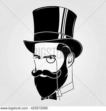 Gentleman With Beard And Mustache In A Top Hat
