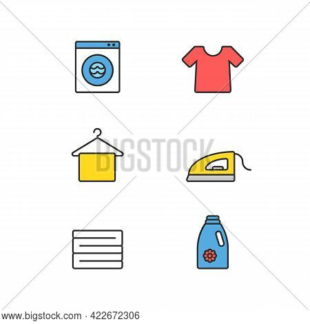Laundry Flat Icon Set With Machine Wash, Tshirt, Towel Hanger, Iron, Blanket, Clothes Stack, Deterge