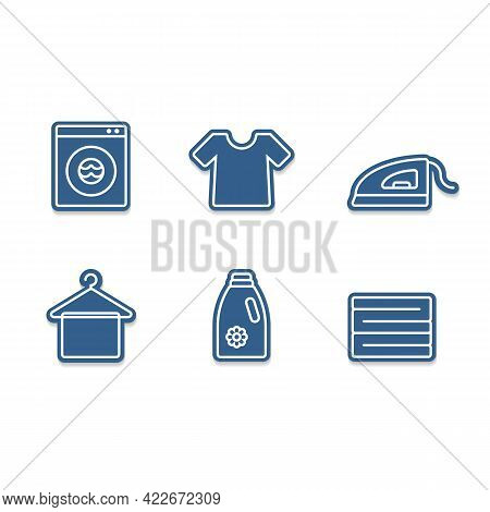 Laundry Icon Set With Iron, Tshirt, Detergent, Clothes Stack, Hanger And Wash Machine Cutout Sticker