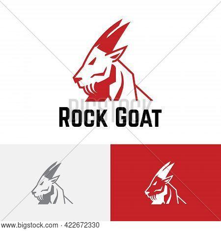 Strong Rock Mountain Goat Animal Nature Logo