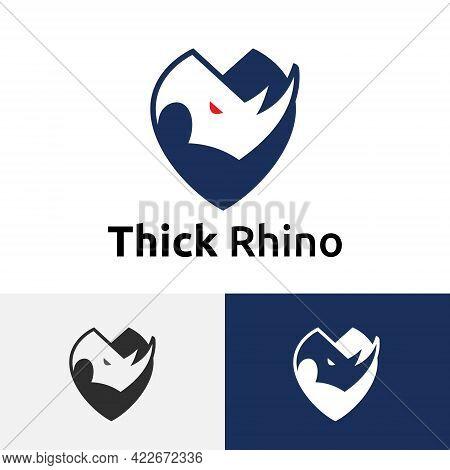 Thick Skinned Rhino Rhinoceros Strong Shield Logo