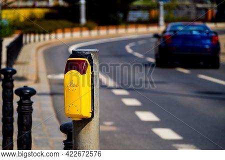 Traffic Light Button At A Pedestrian Crossing. Pedestrian Push Button On A City Road. Pedestrian Cro
