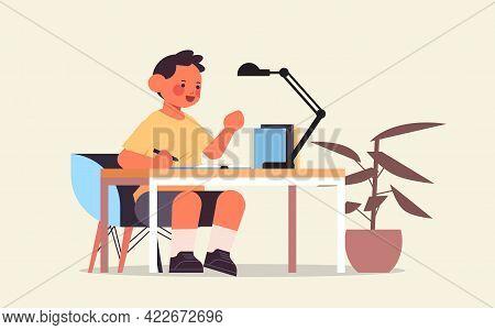 Little Boy Studying And Doing School Homework Education Childhood Concept Full Length
