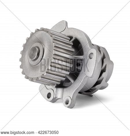 Car Water Pump Isolated On White Background. Water Pump Circulates Coolant Through The Engine Block.