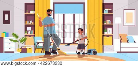 Father And Son Cleaning Living Room Together Parenting Fatherhood Friendly Family Concept