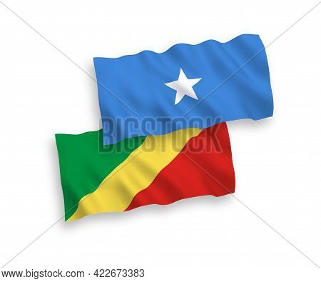 National Fabric Wave Flags Of Republic Of The Congo And Somalia Isolated On White Background. 1 To 2