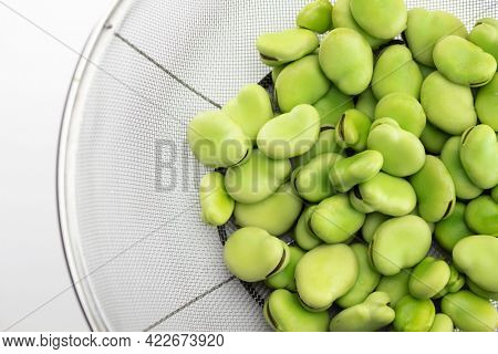 A heap of fresh harvested broad beans in a stainless steel mesh strainer or net. Broadbean also known as fabaad bean, fava bean, or faba bean.