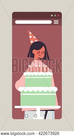 Woman In Festive Hat Celebrating Online Birthday Party Girl In Smartphone Screen Blowing Cake Candle
