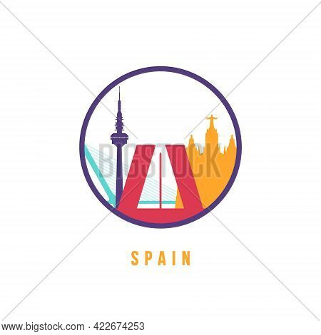 Famous Spain Landmarks Silhouette. Colorful Spain Skyline Round Icon. Vector Template For Postmark,