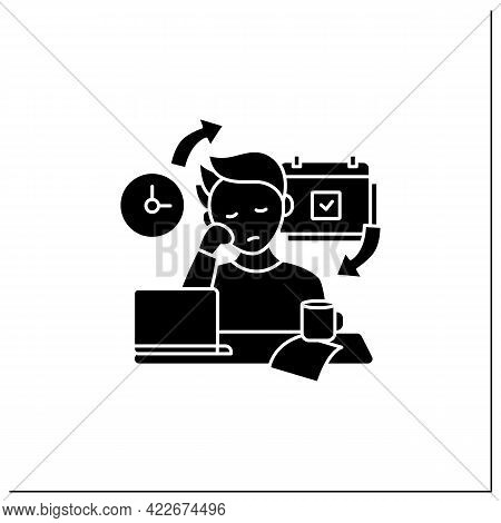 Chronic Procrastination Glyph Icon.unhappy Statistic.tired Person At Workplace. Routine Procrastinat