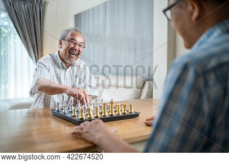Portrait Of Asian Senior Elderly Male Spend Leisure Time, Stay Home After Retirement. Happy Smiling