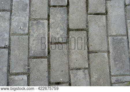 Very Neat Arrangement Of Paving Roads, The Texture Of The Grey Paving Slabs Texture Pattern