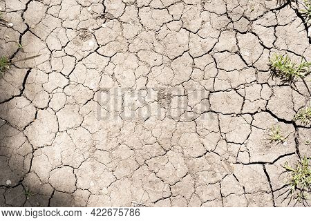 The Texture Of Cracked Earth For Background, Texture Of Cracked Earth, The Ground Has Cracks In The