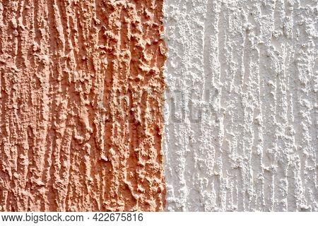 Abstract Color White And Beige Rough Wall Texture Background. Close Up Surface Texture And Backgroun