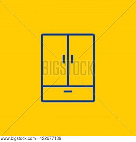 Blue Cupboard Wardrobe Dresser Line Icon On Yellow Background