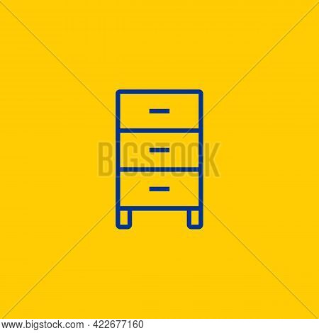 Simple Occasional Cupboard Cabinet Blue Line Icon On Yellow Background