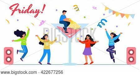 Friday Weekend Party Flat Tiny Last Work Week Day Persons Vector Illustration Concept Happy Holiday