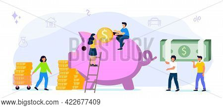 Big Piggy Bank On A White Background With Money Businessmen Hoarding Or Saving Money Funding Vector