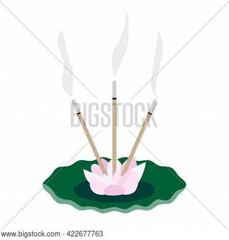Lotus Incense Burner Holder With Scented Sticks On A Ceramic Plate. Aromatherapy And Relax Concept.