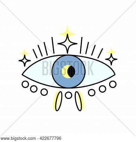 Esoteric Boho Eye Icon With Stars. Vector Cartoon Illustration Isolated On White