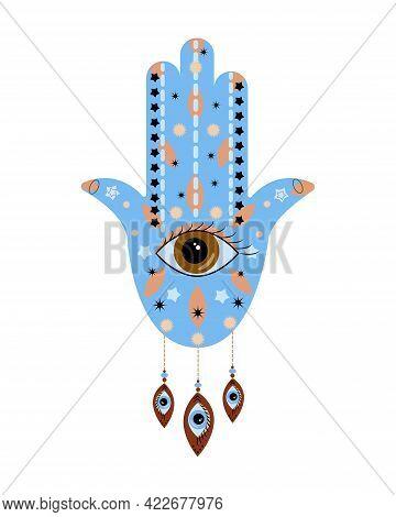 Ornate Hamsa Hand Amulet. Evil Eye Protection Sign. Vector Flat Illustration