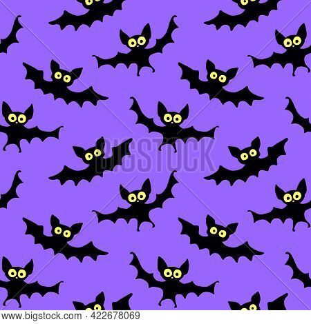 Flying Bats Seamless Pattern. Cute Spooky Vector Illustration. Halloween Backgrounds And Textures In