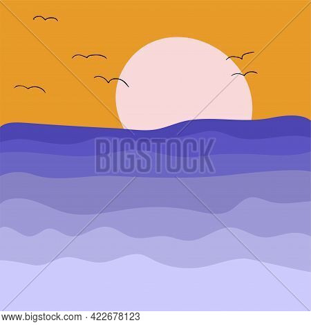 Abstract Minimalistic Seascape At Sunset. Modern Summer Print For Postcards, T-shirt Designs, Wall P