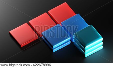 Abstract Icon With Square Items In A Arrow Shape On Black Surface - 3d Rendering Illustration
