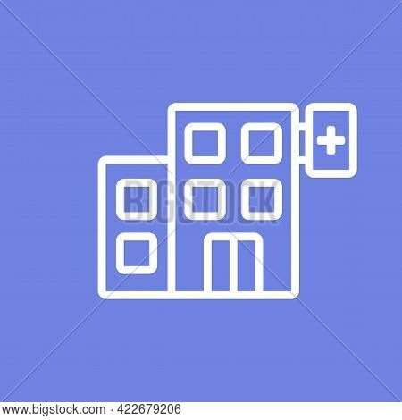 Hospital Healthcare Building Simple Line Icon Vector With Cross Symbol