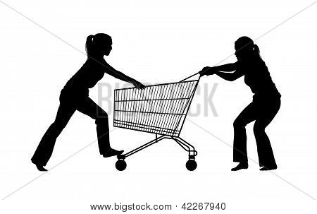 Silhouette Of Two Women Fighting For A Shopping Caddy