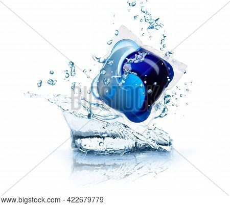 Laundry Capsule And Splashing Water On White Background. Detergent Pod
