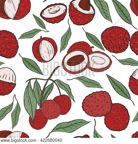Seamless Pattern With Lychee Fruits, Vector. Background With Colored Lychees, Whole And Halves, On A