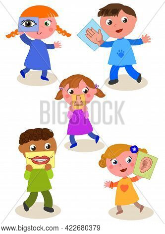 Cartoon Children Showing Five Senses. Sight, Hearing, Taste, Smell And Touch. Vector Illustration