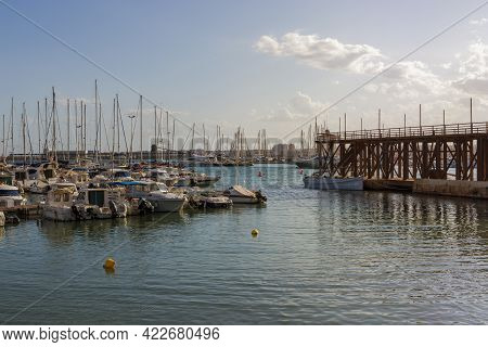 05-10-2021. Torrevieja, Alicante, Spain. Boats Moored By The Nautical Club That Manages 570 Moorings
