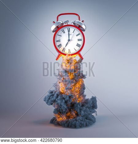 classic red alarm clock with flames and smoke. concept of urgency, time passing. 3d render.